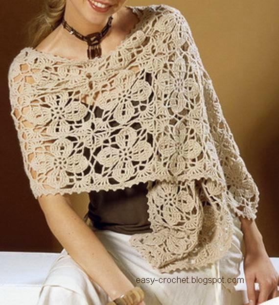 Chal /shawl con diseño floral para tejer al crochet