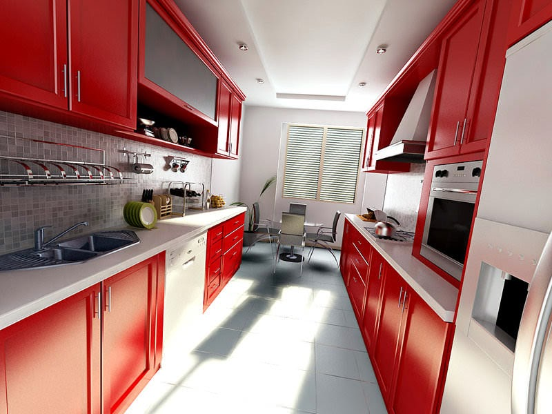 narrow kitchen designs: long narrow kitchen in white and red colors