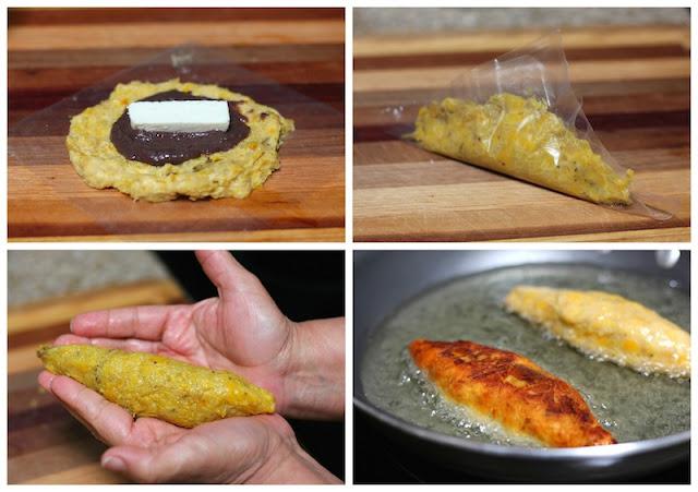 Molotes Plantain Patties stuffed with cheese - Plantain empanadas