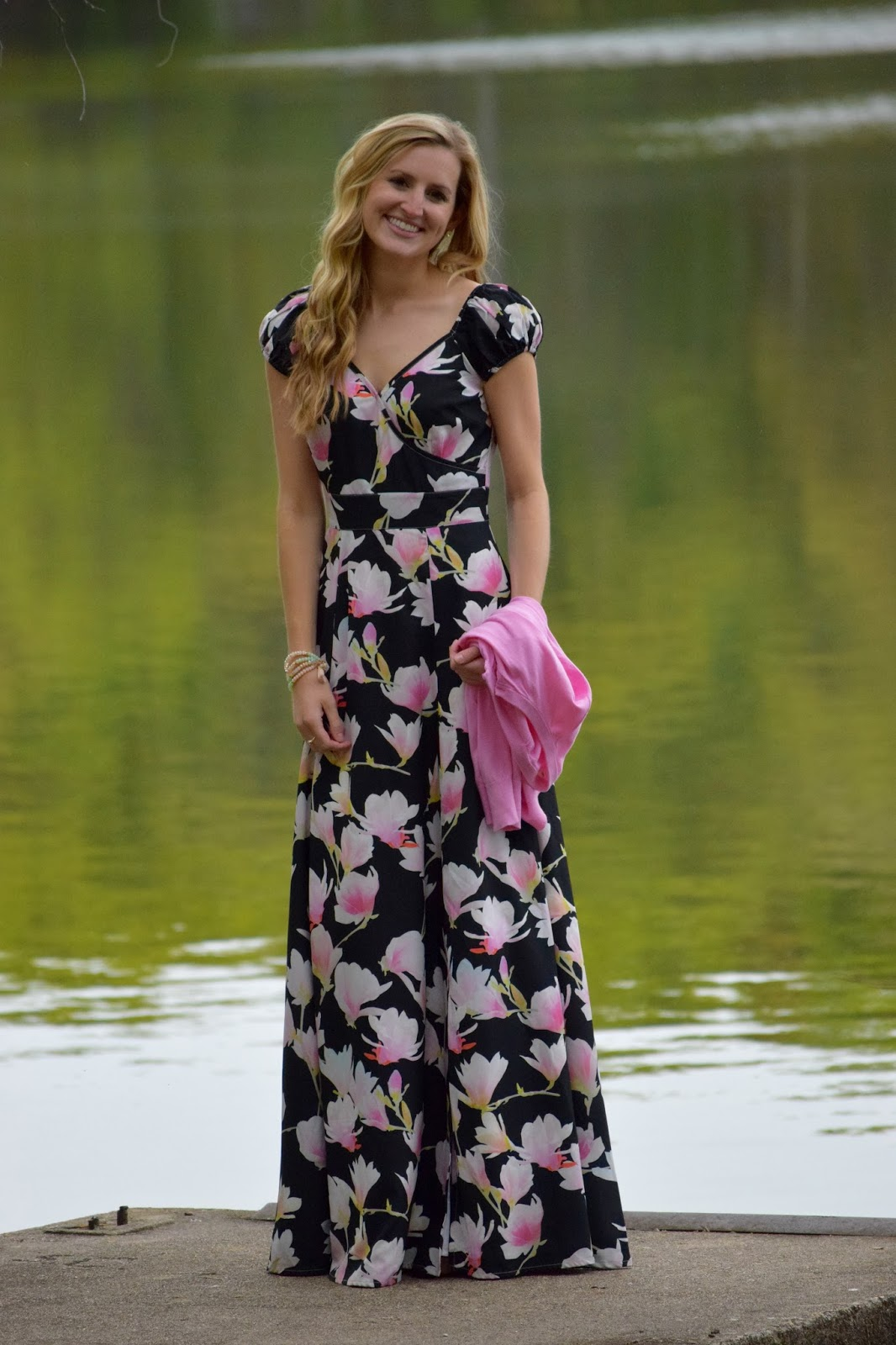 1cd16e8aa58 On Wednesday s we Wear Pink   a Floral Maxi Dress ~ Roses and Rain Boots