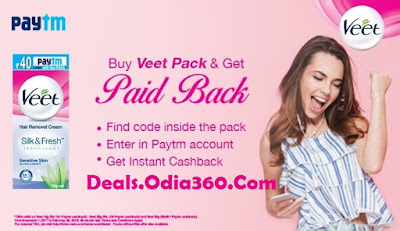 Paytm 40rs Cash on Every Veet Hair Removal Pack [Loot]