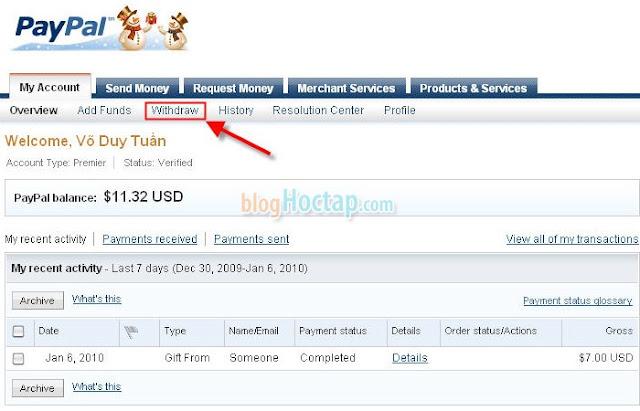 Rút tiền từ Paypal về Ngân Hàng Việt Nam bước 1