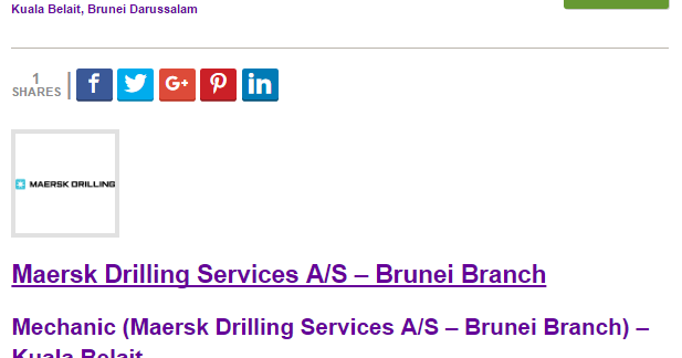Oil &Gas Vacancies: Mechanic (Maersk Drilling Services A/S – Brunei