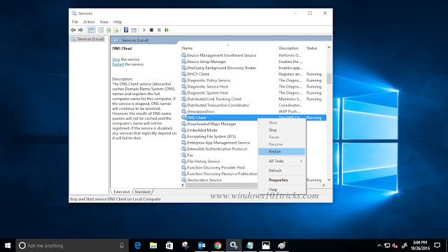 Restart DNS client on windows 10