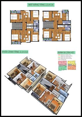 Mặt bằng tầng 2-6 chung cư mini Minh Đại Lộc 4