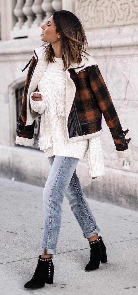 winter street style obsession / plaid jacket + white sweater + jeans + boots