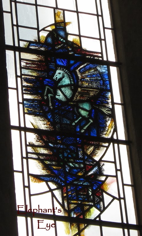Flying horse in stained glass