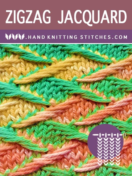 Hand #Knitting Stitches - Zig Zag Jacquard #SlipStitchPattern