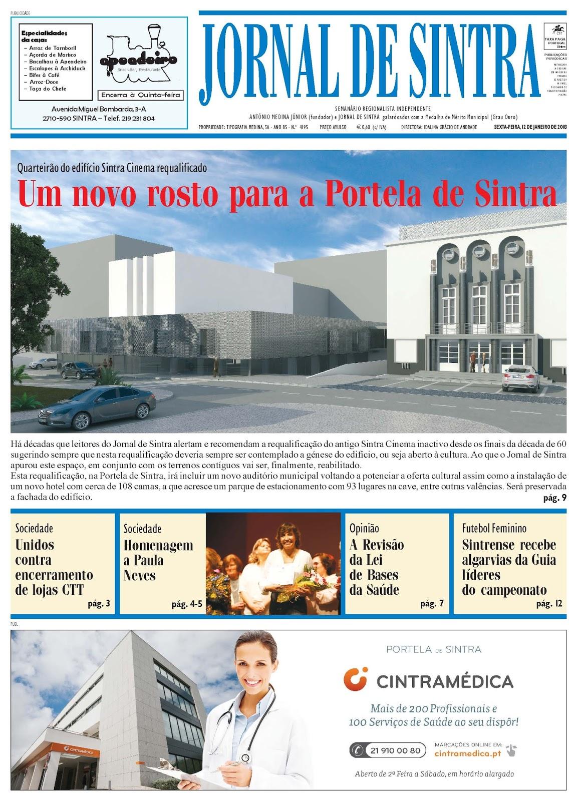 Capa da edição de 12-01-2018