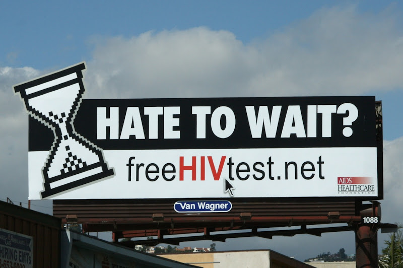 Hate to wait HIV test billboard