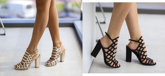 Sandale aurii / negre cu toc gros ieftine de zi si de ocazii