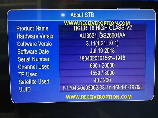 TIGER T8 HIGH CLASS-V2 HD RECEIVER POWERVU KEY NEW SOFTWARE
