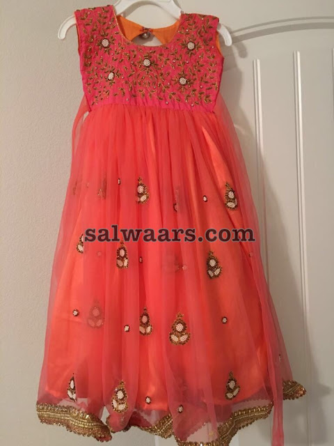 Peach Color Maggam Work Frock