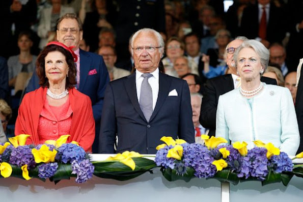 Queen Silvia, Princess Benedikte of Denmark and King Carl Gustaf at the opening ceremony of CHIO Aachen 2016, Germany. Style royals, fashion style