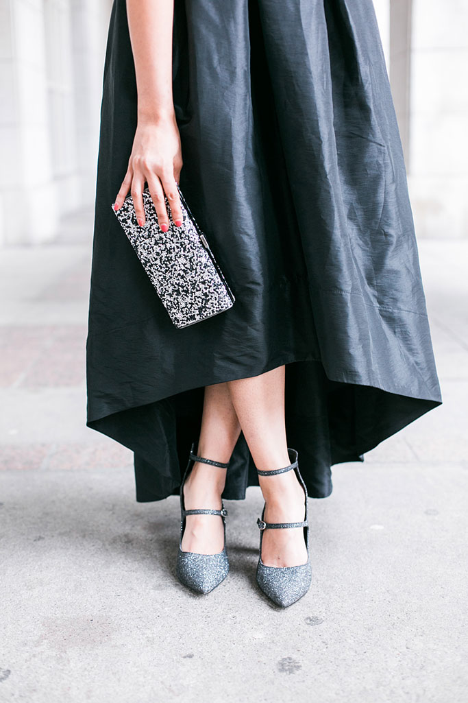 Blogger Outfit Sangria Black and White High Low Party Dress Marc Fisher Silver Glitter heels IMO glitter clutch bag