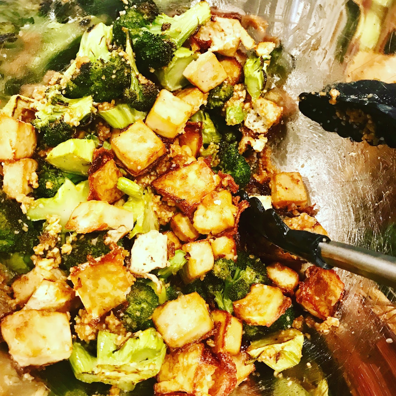 Crispy Tofu And Broccoli With Peanut Pesto What S For Dinner Food