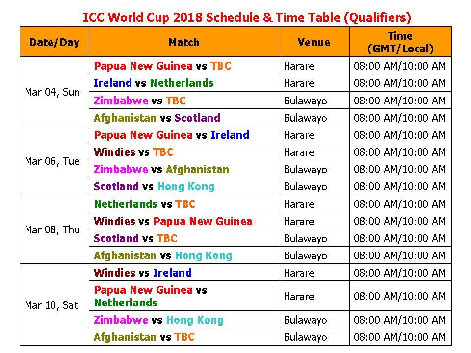 World Cup 2018 Qualifier Schedule