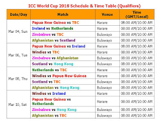 ICC World Cup 2018 Schedule & Time Table (Qualifiers), ICC World Cup Qualifiers 2018, ICC World Cup 2018 schedule & time table, cricket World Cup 2018, world cup 2018 fixture, ICC World Cup 2018 time table, ICC World Cup 2018 schedule, ICC World Cup 2018 teams & players, match detail, IST time, GMT time, local, cricket world cup 2018, odi world cup 2018, ICC cricket 2018 ODI, 2018 world cup,