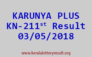 KARUNYA PLUS Lottery KN 211 Result 03-05-2018
