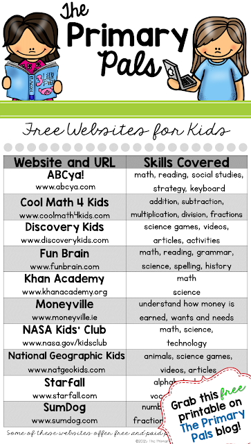 Free Websites for Kids Printable