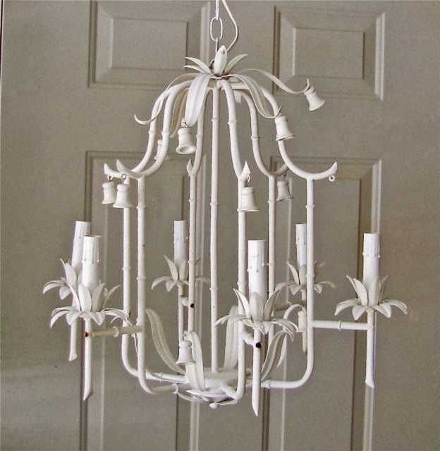 White Vintage Faux Bamboo Pagoda Chandlier