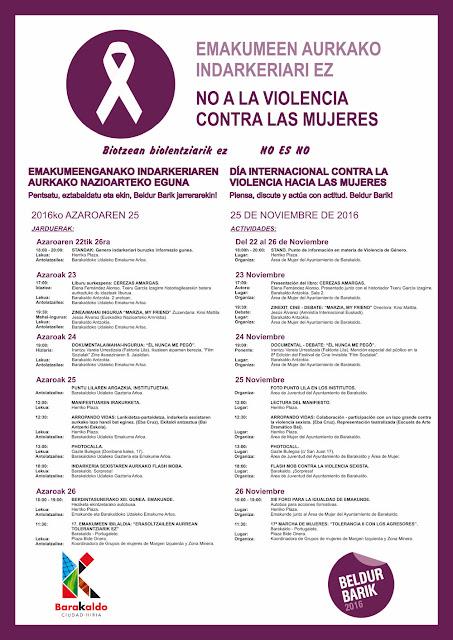 Cartel de actividades contra la violencia machista