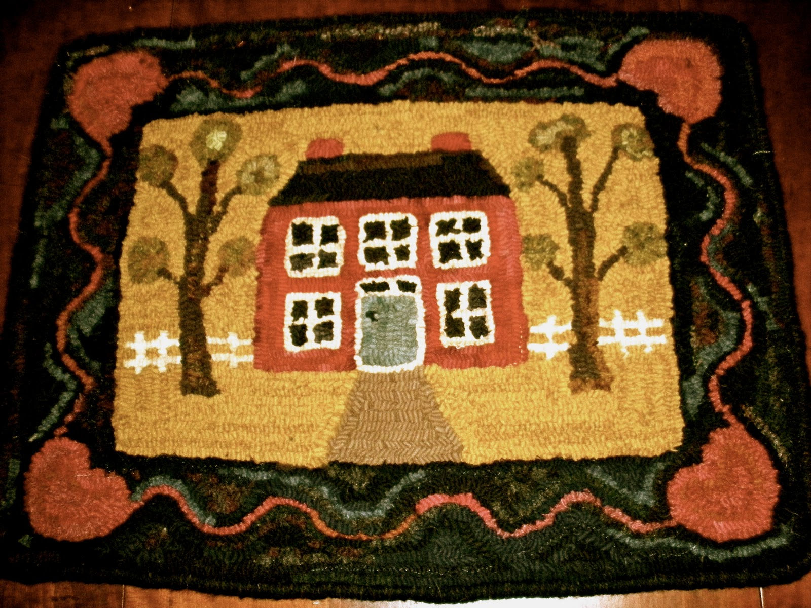 Merry Wind Farm Primitive Hooked Rug For Sale