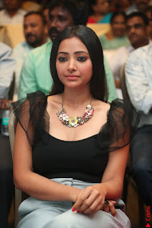 Swetha Basu in a Black Sleeveless Top Long Skirt at Mixture Potlam Movie Audio Launch 014.JPG