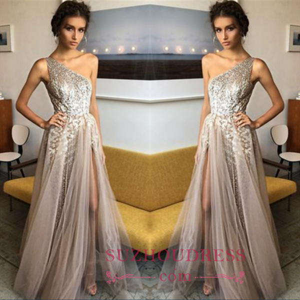 Glamorous A-Line One Sholder Prom Dresses 2018 Sequins Side Slit A-line Evening Gowns BA7524