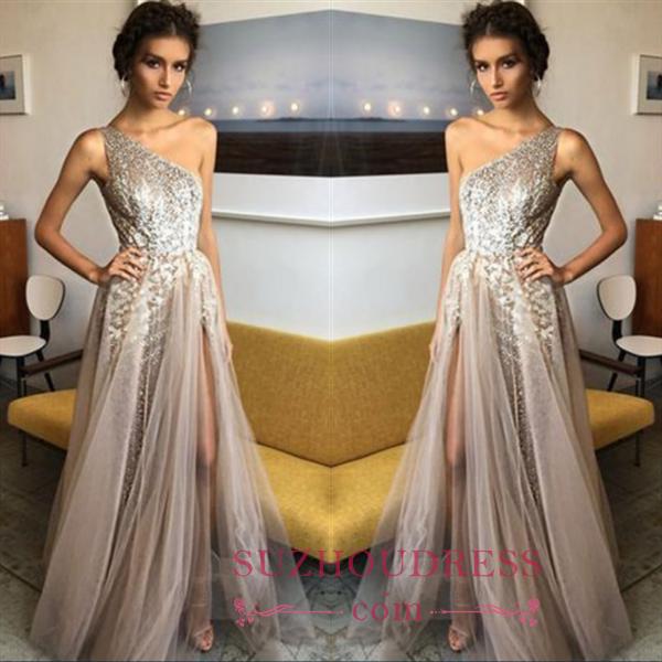 Glamorous A-Line One Sholder Prom Dresses 2018 Sequins Side Slit A-line Evening Gowns BA7524