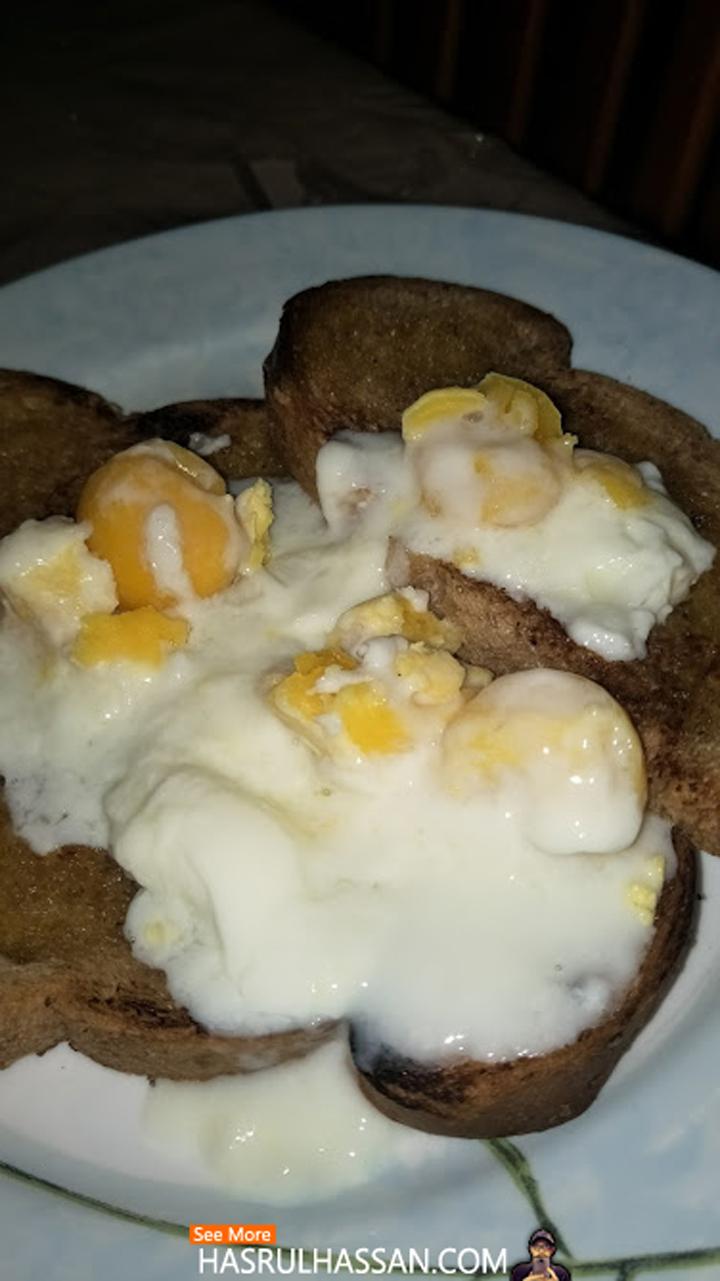 Roti Bakar Telur Separuh Masak - Breakfast Simple