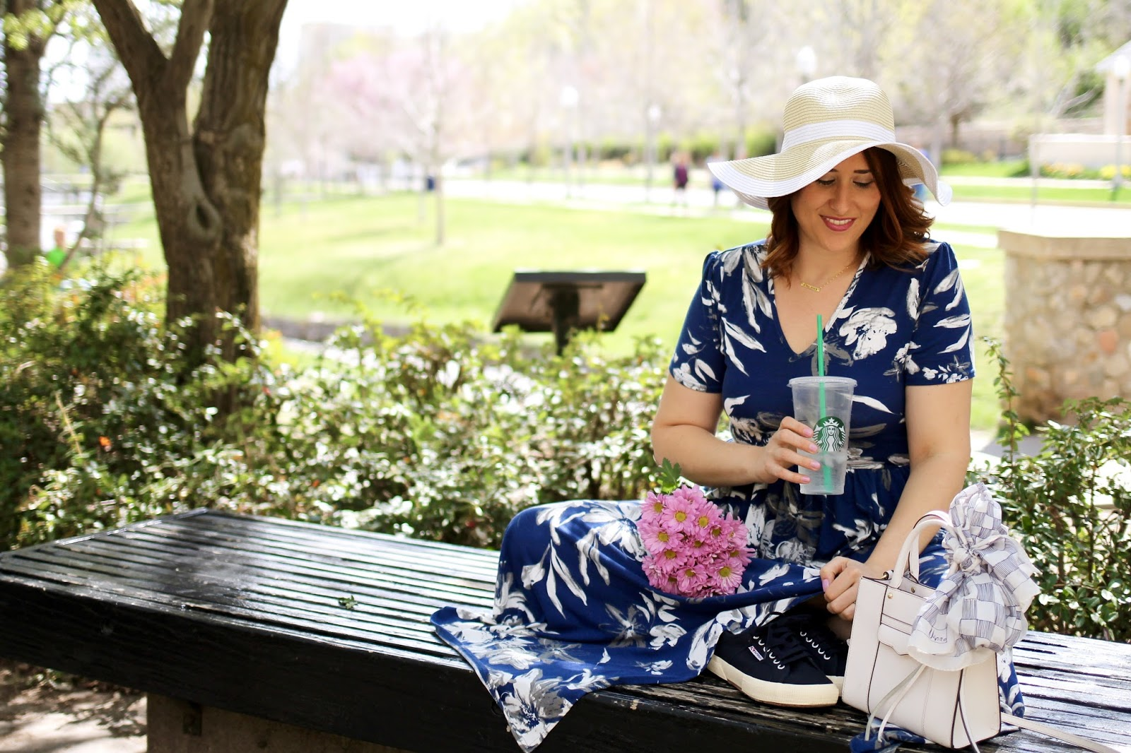 rebecca minkoff mini mab tote white, floral maxi dress, pink flowers, park bench, casual outfit, sun hat