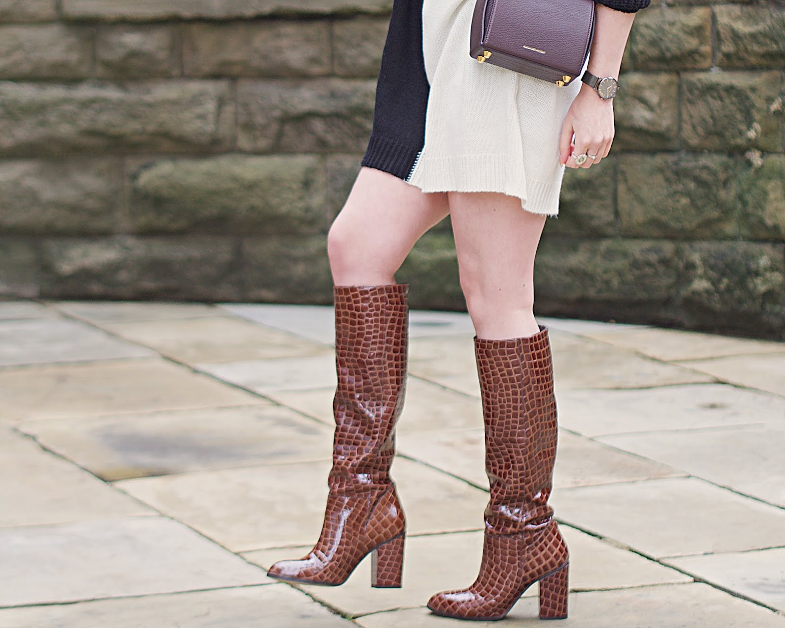 croc effect knee high boots