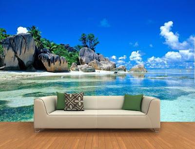 Fototapet tropisk tapet strand hav 3d fondtapet