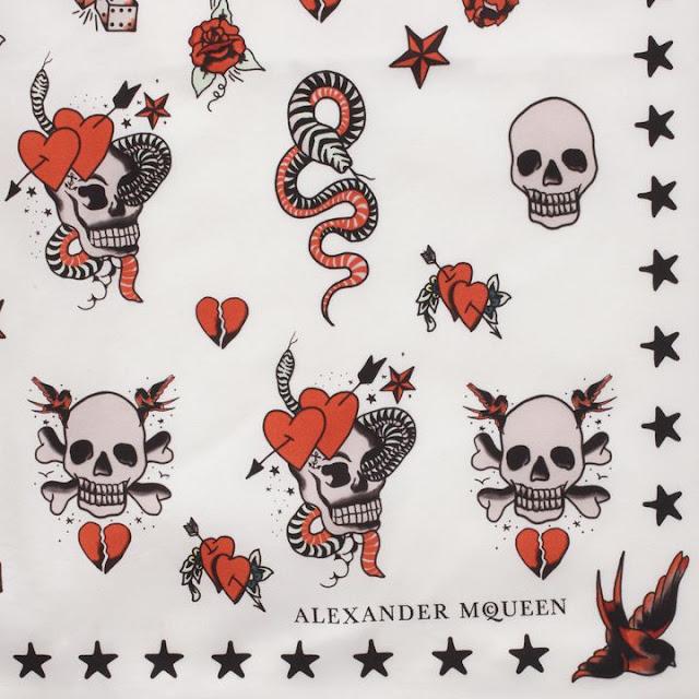 Ivory Silk Skull Tattoo Scarf