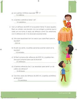 Respuestas Apoyo Primaria Desafíos Matemáticos 5to Grado Bloque IV Lección 73 El litro y la capacidad