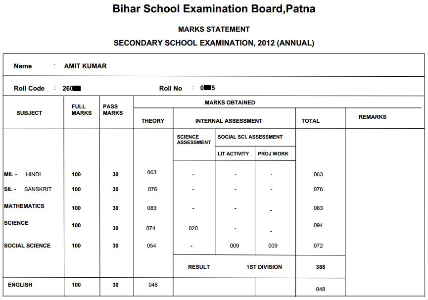 Bihar Board Matric result 2012 BSEB 10th result online