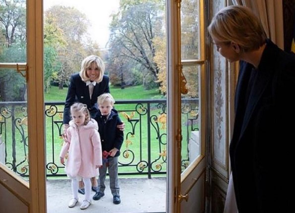 French First Lady Brigitte Macron, Princess Charlene and her twins Prince Jacques and Princess Gabriella at Elysée, Palace Paris