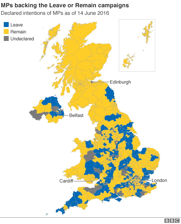 UK members of parlament who are backing the leave or remain campaigns in the EU referendum