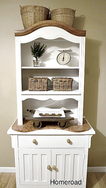 farmhouse hutch created with found pieces