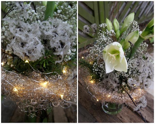 DIY Blumenstrauß mit gewachster Clematis, Amaryllis und Schleierkraut