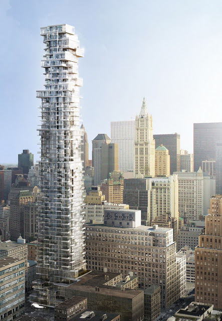 56 Leonard Street by Herzog & De Meuron and New York city in the background