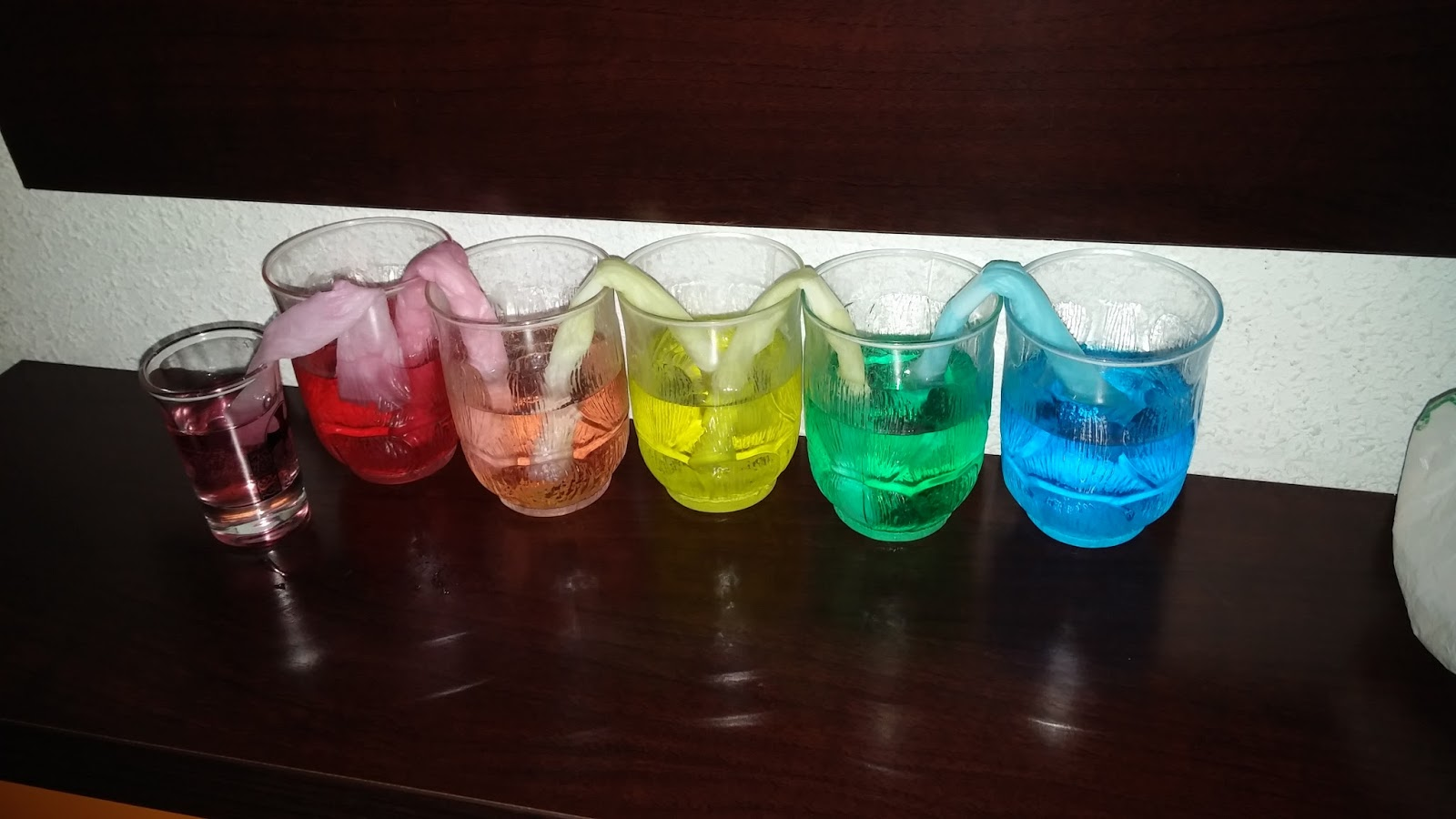 Mis chicos on the road experimentos de mezclas de colores - Vasos de colores ...