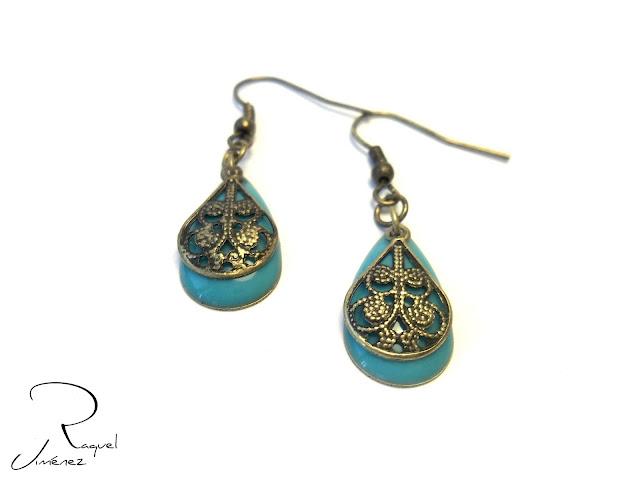 pendientes bronce y turquesa