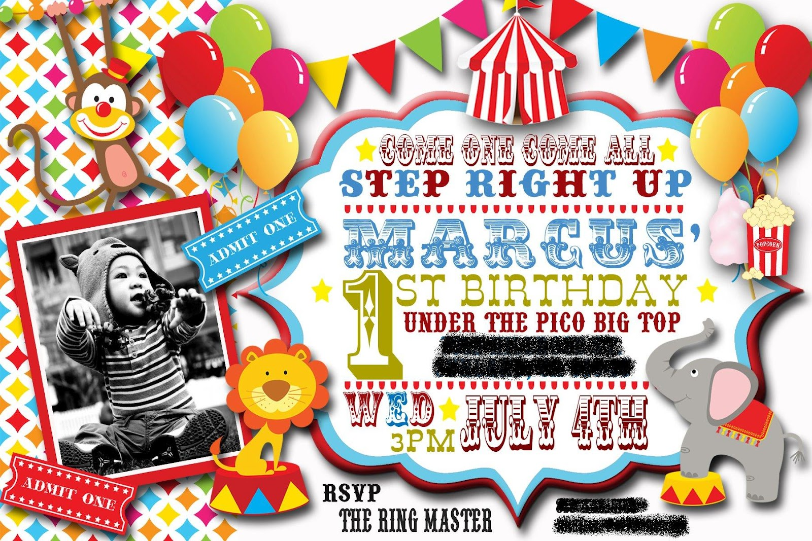 So Of Course First Things The Invites I Downloaded A Circus Packet From Etsy And Just Designed It In Photoshop Elements