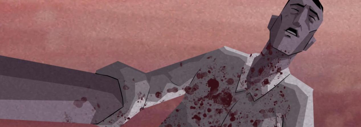 Michael, protagonista de Dead Sychronicity, mira a cámara con la camisa blanca manchada de sangre.