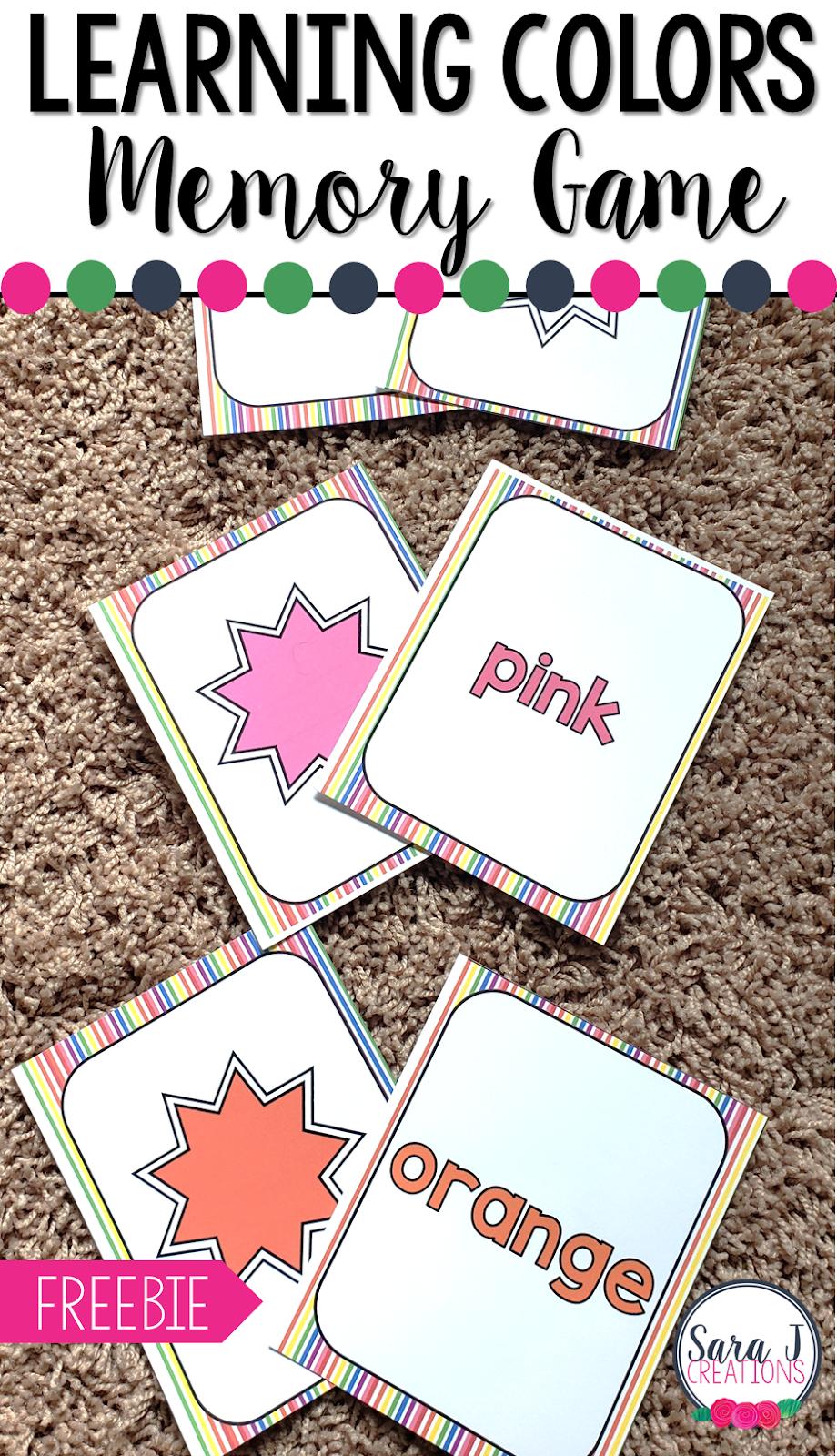 Learning Colors Memory Game | Sara J Creations