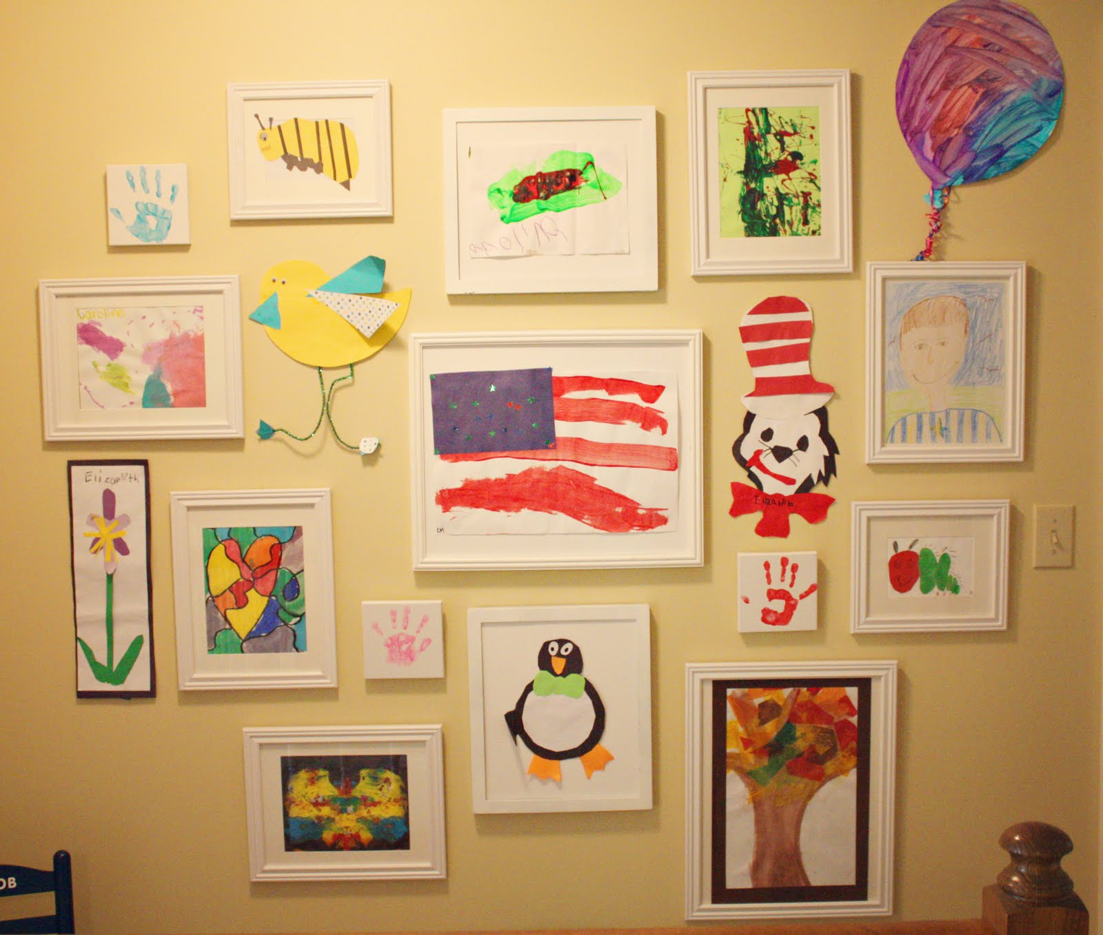 the blue house chronicles kids 39 art wall. Black Bedroom Furniture Sets. Home Design Ideas