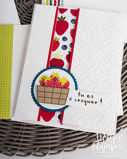 Carte d'anniversaire Stampin'Up! créée avec le jeu d'étampes Panier de fruits