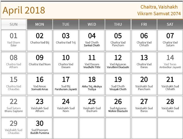 April 2018 Hindu Calendar with Tithi